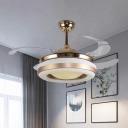 Acrylic Recessed Shade Semi-Flush Ceiling Light Minimalistic Gold 4 Blades LED Pendant Fan Light, 19