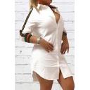 Stylish Women's Shirt Dress Contrast Stripe Pattern Button-down Spread Collar Long-sleeved Regular Fitted Shirt Dress