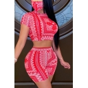 Retro Women's Set Paisley Flower Detail Round Neck Short Sleeves Tee Top with High Waist Shorts Co-ords