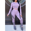 Sporty Women's Set Contrast Stitching Color Block Crew Neck Long Sleeves Banded Hem Slim Fitted Tee Top with High Waist Long Pants Set