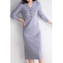 Elegant Women's Sweater Dress Rib Knitted Solid Color Button Design V Neck Long Sleeves Slim Fitted Midi Sweater Dress