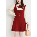 Trendy Women's Dress Contrast Panel Patchwork Front Tie Faux Twinset Button Detail Contrast Trim Turn-down Collar Long Sleeves Regular Fitted Sweater Dress