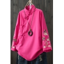 Womens Shirt Stylish Flower Embroidery Slant Frog Button down Loose Fit Long Sleeve Mandarin Collar Shirt
