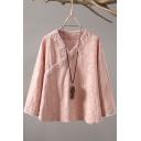 Womens Shirt Trendy Cotton Linen Slant Frog Button Mandarin Collar Regular Fit Long Sleeve Modified Cheongsam Top