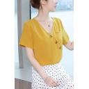 New Stylish V-Neck Short Sleeve Simple Plain Button Front Pocket Detail Summer Blouse for Women