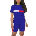 Fashionable Co-ords Stripe Pattern Color Block Crew Neck Short-sleeved Regular Fitted with Shorts Set