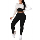 Trendy Women's Co-ords Contrast Panel Color Block Crew Neck Long-sleeved Slim Fitted Tee Top with Long Pants Set