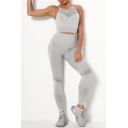 Trendy Women's Set Contrast Panel Spaghetti Strap Sleeveless Round Neck Slim Fitted Tank Top with High Waist Pants