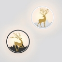 Aluminum Circle Flush Wall Sconce Nordic Black/White and Gold Stag LED Wall Mount Lamp in Warm/White Light