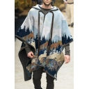 Classic Mens Hoodie Forest Bird Print Drawstring Long Sleeve Tunic Relaxed Fitted Woolen Pullover Cape