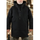 Mens Hoodie Casual Label Patch Drawstring Kangaroo Pocket Woolen Lace-up High Neck Regular Fitted Long Sleeve Tunic Hoodie