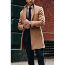 Mens Coat Stylish Solid Color Mid-Length Button up Lapel Collar Slim Fit Long Sleeve Woolen Coat