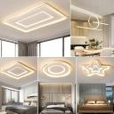 Ultrathin Round/Star/Square Ceiling Lighting Kids Style Metal Nursery LED Flush Mount Lamp in Gold