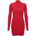 Simple Christmas Style Round Neck Long Sleeves Plain Mini Bodycon Dress