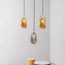 Amber/Smoky Glass Gem Shaped Pendant Mid-Century 1 Head Brass Finish Hanging Ceiling Light with Frame