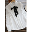 Youthful Women's Blouse Bow-Tied Solid Color Button-down Peter Pan Collar Long Puff Sleeves Regular Fitted Blouse