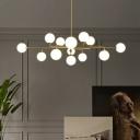 Gold Molecular Island Pendant Post-Modern 6/9/12-Light Opaline Glass Ceiling Suspension Lamp for Bedroom