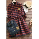 Cute Women's Shirt Dress Plaid Pattern Bear Embroidered Drawstring Waist Button-down Turn-down Collar Long-sleeved Regular Fit Shirt Dress