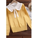 Casual Women's Knit Top Contrast Trim Patchwork Tie Neck Peter Pan Collar Long-sleeved Fitted Sweater