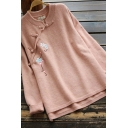 Elegant Women's Sweater Flower Embroidered Button Decoration Stand Collar Rib-Knitted Trim Long Sleeve Regular Fit Knit Top