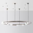 Minimalist Circular Chandelier Pendant Ivory Ball Glass 8 Lights Postmodern Style Hanging Light in Brass
