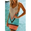 Sexy Women's Slip Dress Chevron Pattern Hollow out Contrast Panel Sleeveless V Neck Slip Dress
