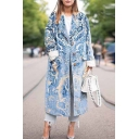 Womens Coat Stylish Abstract Pattern Flap Pockets Button down Loose Fit Longer Length Long Sleeve Lapel Collar Woolen Coat