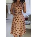 Retro Womens Dress Polka Dot Pattern Buckle Belted 3/4 Sleeve Midi Slim Fitted Lapel Collar A-Line Dress