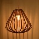 Nordic 1-Bulb Pendulum Light Beige Diamond Shaped Hanging Pendant with Wood Cage
