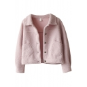 Retro Womens Jacket Plain Front Double-Pocket Lamb Wool Button up Turn-down Collar Loose Fit Long Sleeve Fur Jacket