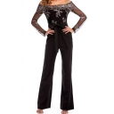 Womens Jumpsuit Trendy Sequin Decoration Tie-Waist Long Sleeve off Shoulder Slim Fitted Wide Leg Jumpsuit
