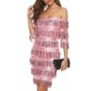 Creative Womens Dress Sequin Fringe off Shoulder Half Sleeve Slim Fitted Mini Bodycon Dress