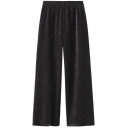 Elegant Women's Pants Chenille Detailed Solid Color Elastic Waist Wide-Leg Long Pants
