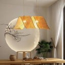 Minimalist Spiral Woven Hanging Lamp Bamboo 1 Head Dining Room Suspension Light in Beige