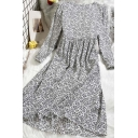 Country Style Women's Dress Ditsy Floral Pattern Waist Banded Round Neck Long Puff Sleeves Fitted Blouse Dress