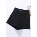 Retro Womens Shorts Solid Color Stretch Zipper Fly High Rise Regular Fitted Wide Leg Relaxed Shorts