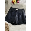 Classic Womens Shorts Double Pockets Front PU Leather Zipper Fly High Rise Regular Fitted Wide Leg Relaxed Shorts