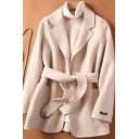 Vintage Womens Coat Tie-Waist Pockets Double-Face Woollen Open Front Long Sleeve Notched Lapel Collar Loose Fit Wool Coat