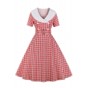 Womens Dress Stylish Checkered Pattern Button Decoration Buckle Belted Short Sleeve Midi A-Line Slim Fitted Surplice Neck Swing Dress