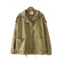 Casual Women's Jacket Solid Color Zip Pocket Hooded Long-sleeved Relaxed Fit Jacket