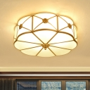 Brass Floral Drum Semi Flush Light Traditional Frosted Glass 3/4/6-Head Dining Room Small/Medium/Large Ceiling Mount Lamp