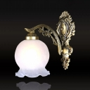 Ruffle-Trim Ball Frosted Glass Wall Light Antiqued 1 Bulb Dining Room Wall Mounted Lamp