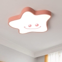 Acrylic Smiling Star Ceiling Lamp Kids Style LED Flush Mount Light Fixture in Pink, Warm/White Light