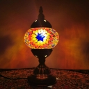 Mosaics Glass Bronze Night Lamp Sunflower Patterned Censer 1 Head Moroccan Table Light