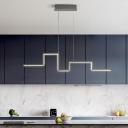Square Curve Metal Pendant Lighting Minimalist Black/Grey LED Hanging Island Light in Warm/White Light, 31.5