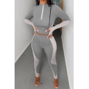 Womens Sport Co-ords Simple Color Block Finger Holes Zipper Front Slim Fitted Leggings Mock Neck Long Sleeve Cropped Tee Yoga Co-ords