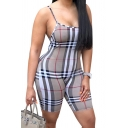Retro Womens Romper Plaid Print Backless Skinny Fitted Sleeveless Spaghetti Strap Romper