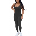 Retro Womens Jumpsuit Plain Knitted Scoop Neck Skinny Fitted Sleeveless Jumpsuit