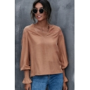 Retro Womens Shirt Solid Color Eyelet-Patchwork V Neck Long Bishop Sleeve Loose Fitted Pullover Shirt