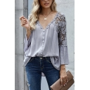 Stylish Women's Blouse Lace Trim Hollow out Broderie Detailed Patchwork Button-down V Neck Flare Cuff Sleeves Regular Fitted Shirt Blouse